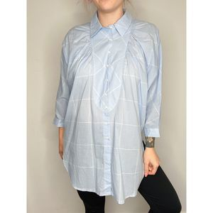 Anthropologie Maeve   Grid button down tunic   S